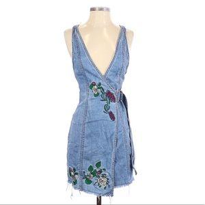 NWT H&M Coachella Denim Wrap Mini Dress